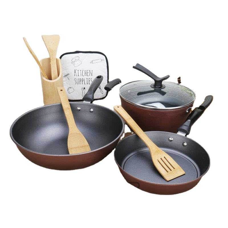 kitchen cast iron non stick casserole coating enamel clay cookware set