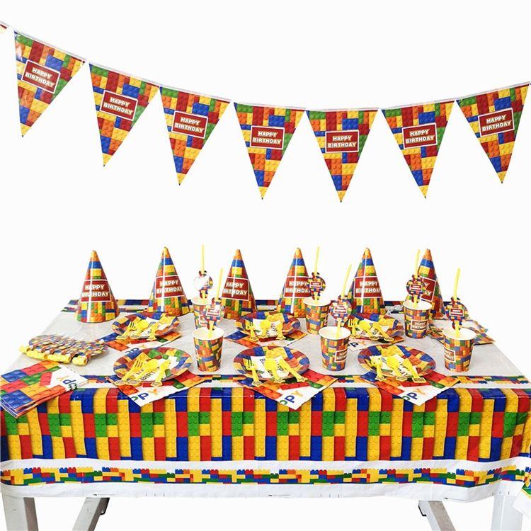 YOT Legoing bloques tema Fiesta decoración vajilla taza de papel de placa servilletas mantel de la ducha de bebé niños Fiesta