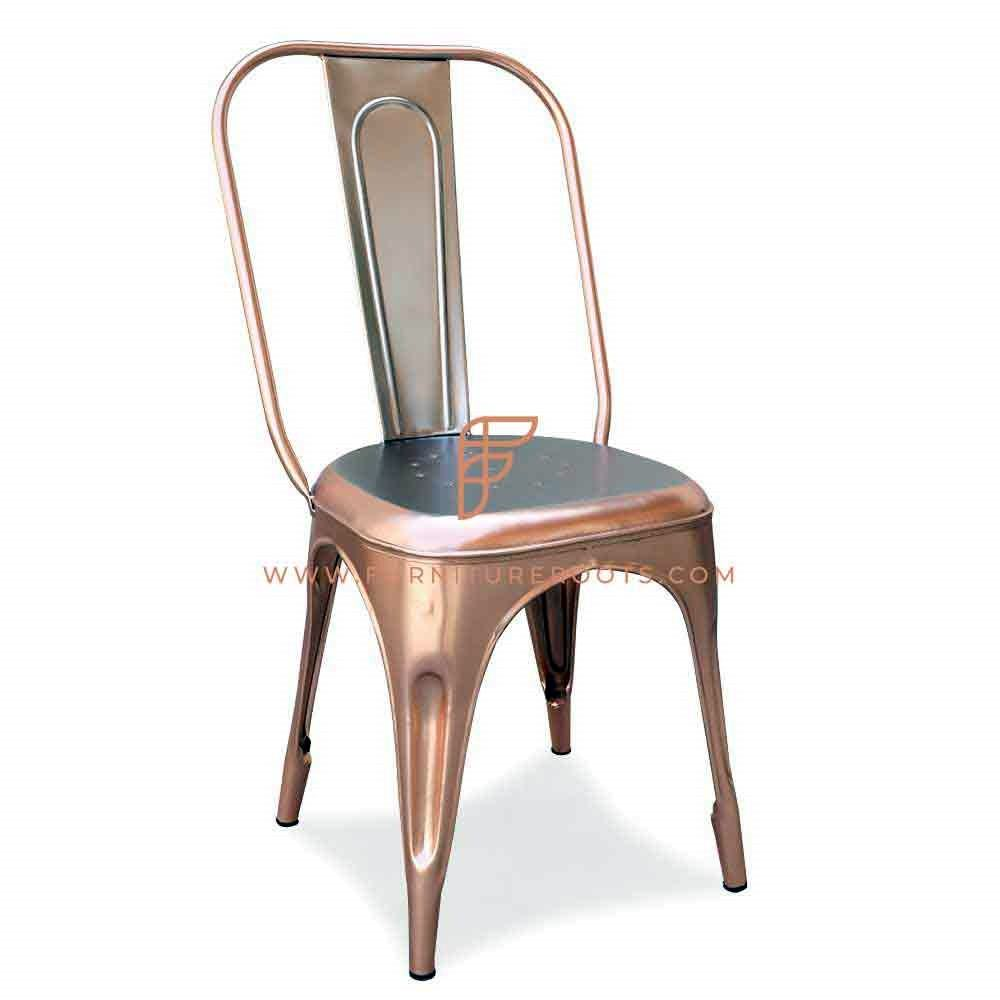 Patio and Dining Metal Side Chair in Duel metal Shade copper & Nickle Finish