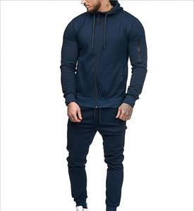 New Trendy Mens Sports Suit Zipper Decoration Fitness Casual Wear Customized Mens Tracksuits Set