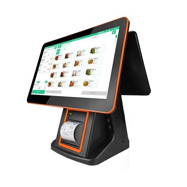 LKS-POS690D 15.6 inch dual screen all in one touch pos with embedded 58mm printer