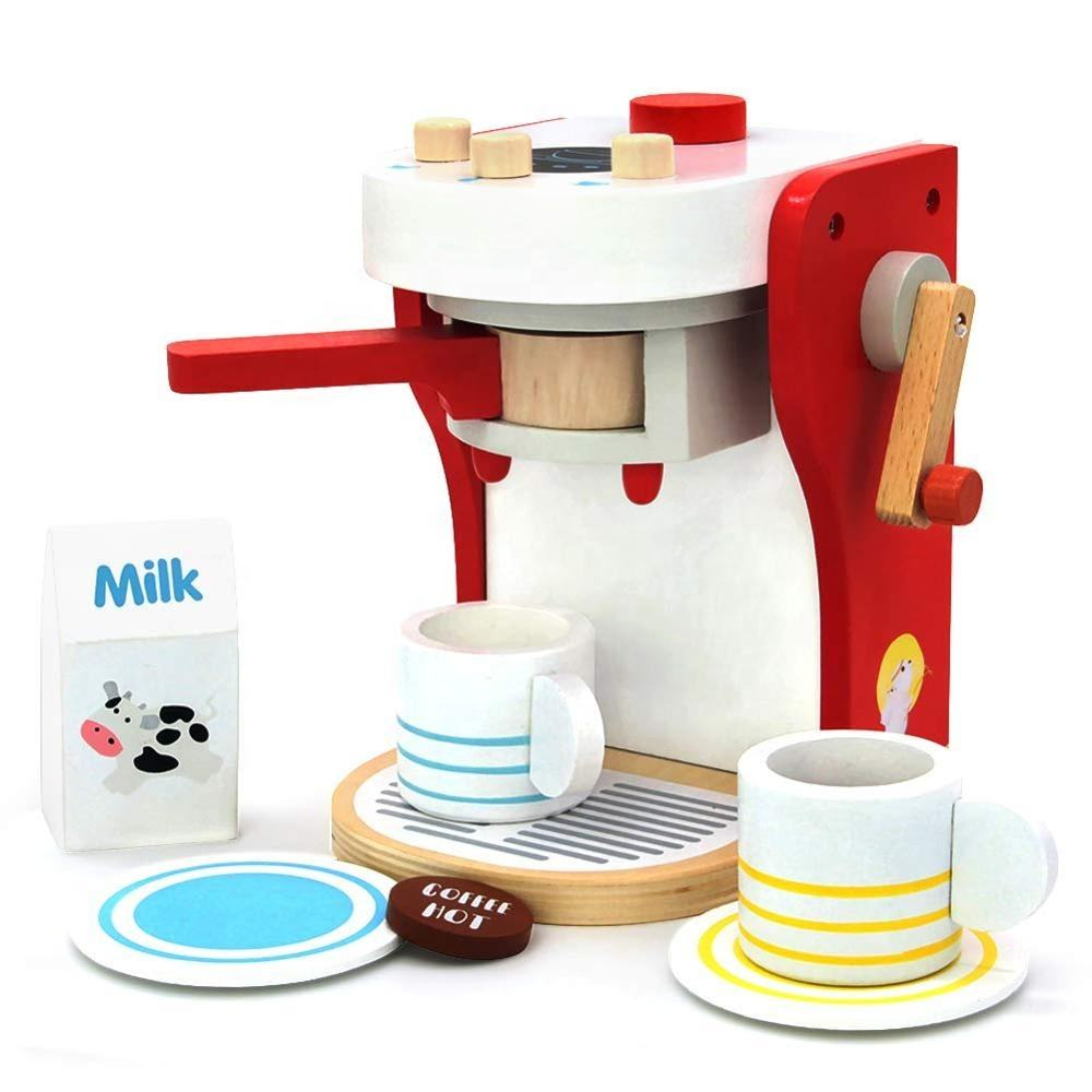 Kitchen Toys Wooden Pretend Party Set Kitchen Play Wooden Coffee Machine for Kids Girls Boys Role Play Toy for 3 4 5 6 Years