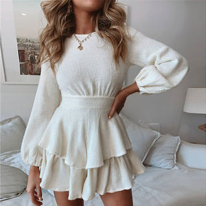 Private Label One Piece High Waist Long Sleeve Midi Casual Womens Dresses Women