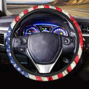 Drop Shipping Nation Flag USA Britain Pattern Custom 3D Print Car Steering Wheel Cover Universal Elastic Braid Cover Auto