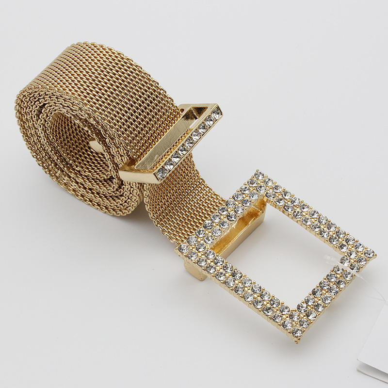 Trendy fashion silver gold metal belt mesh chain durable India hot belt Guangdong factory direct sales