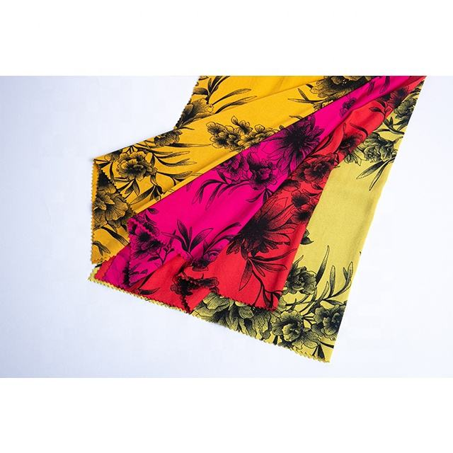 Woven Stretch Ink Flower Paint Elastic Rayon Fabric