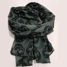 Autumn Female Skull Print Scarf Women Cotton Linen Scarf