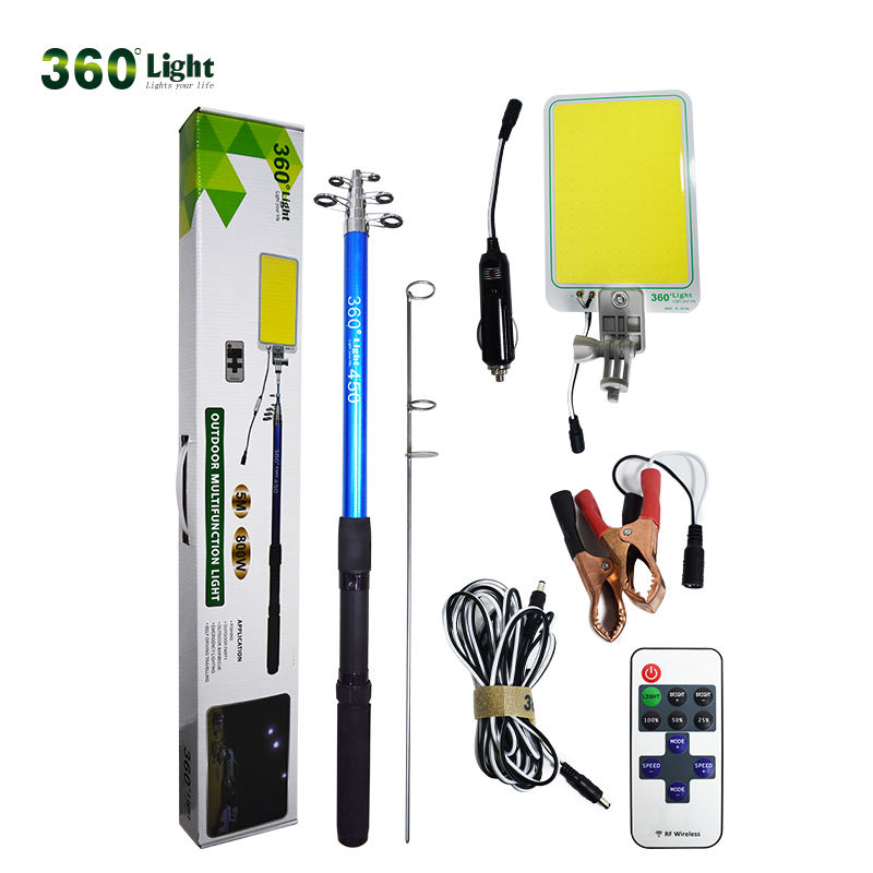 360 Light Super Bright COB Board Outdoor Camping Light Fishing Rod Light Telescopic Pole Lantern for Party
