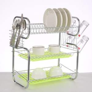 3 Tier Stainless Steel Dish Drying Rack With Plate Cup Holder