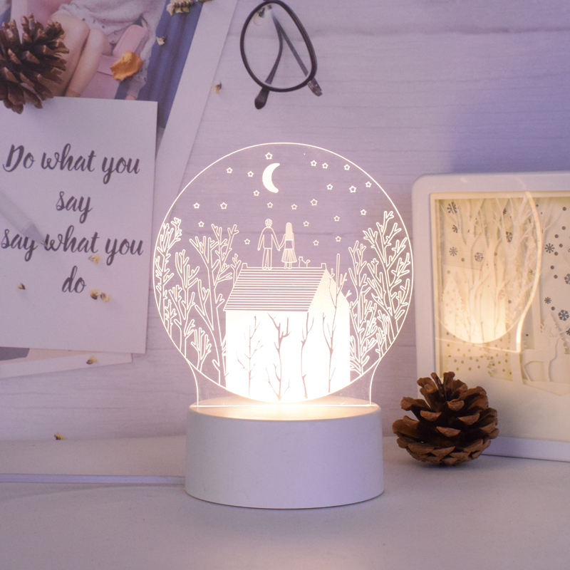 Customized design Creative High Transparent acrylic board 3d led night lamp