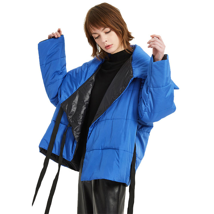 2021 Winter Jacket Women Stand Collar Solid Female blue Down Coat Loose Oversized Womens Short Parka Jacket Parkas Mujer Women