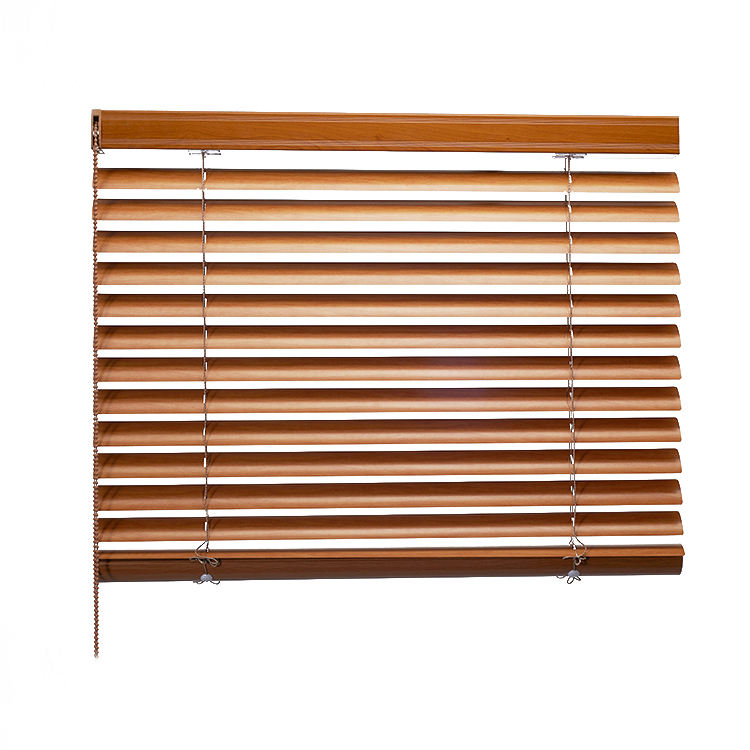 50Mm Slat Manual Aluminum Wooden Venetian Blinds Wood Window Shades With Dual-Cord
