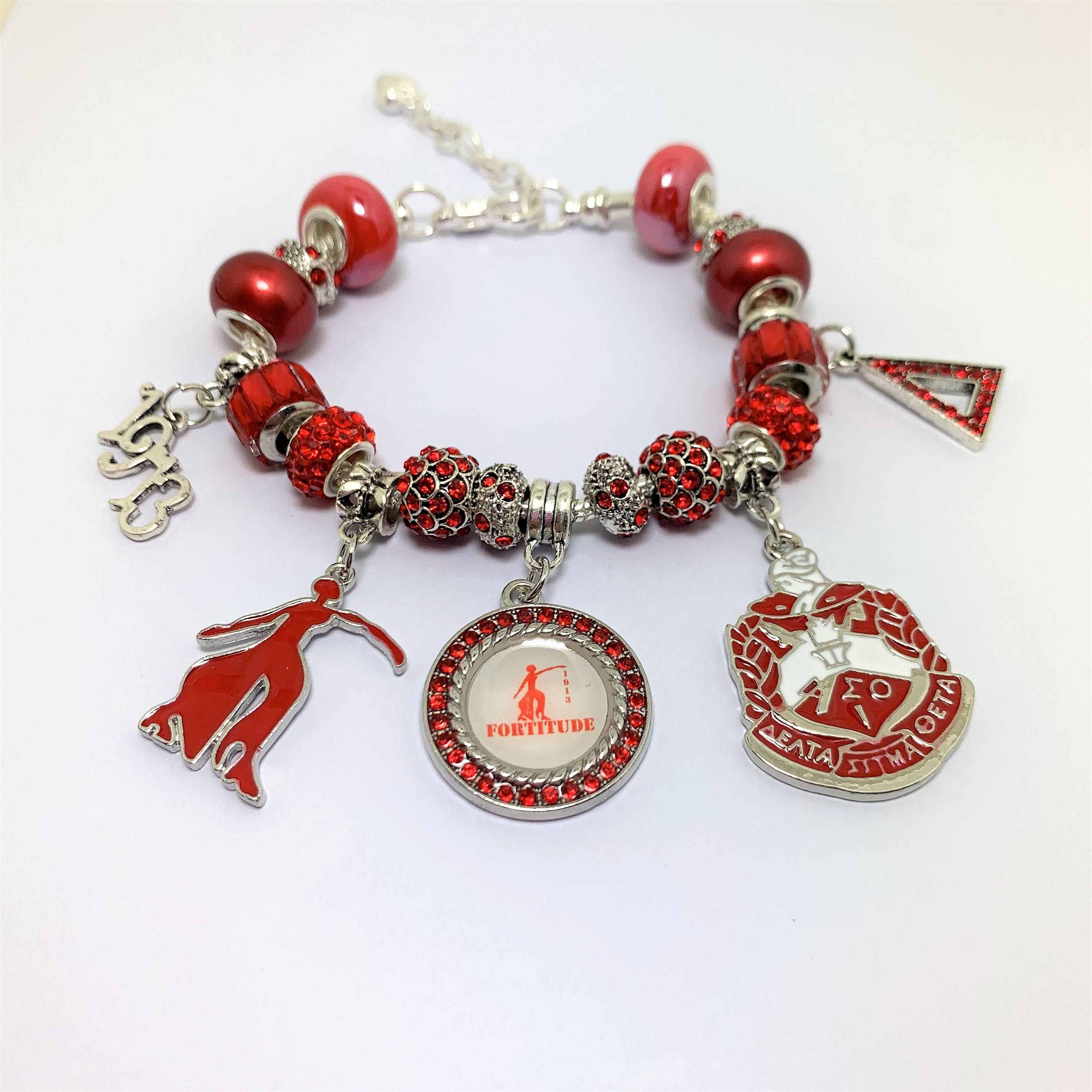 Founded 1913 Greek Letter Sorority Delta Sigma Theta Soror Beads Bracelet Red Enamel Jewelry For Souvenir