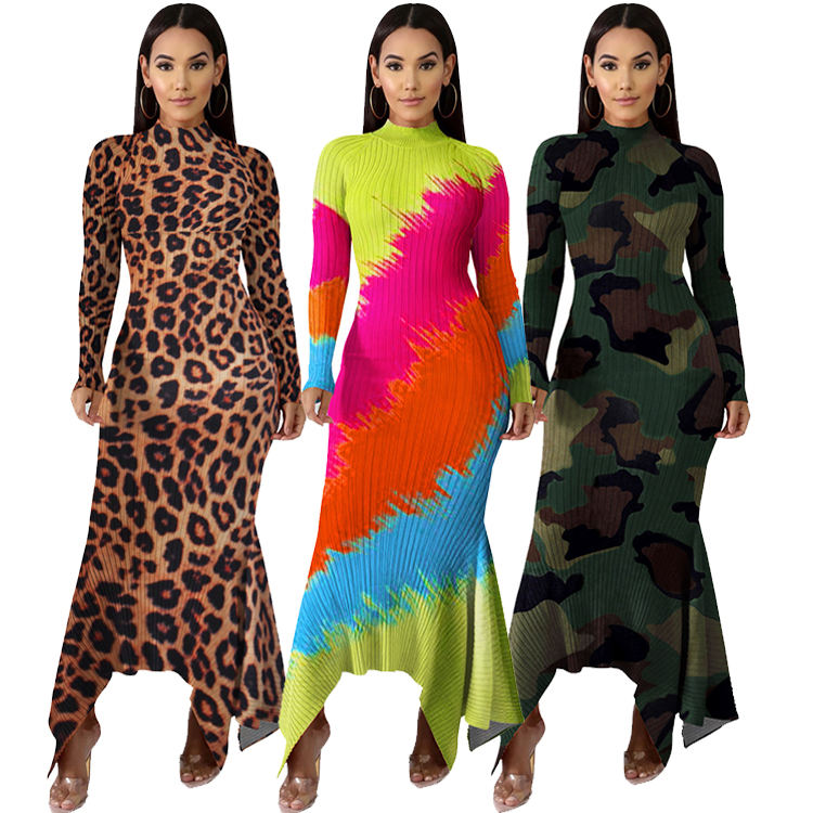 Elegant Irregular Printed Long Sleeve Maxi Dress Women Casual African Dresses