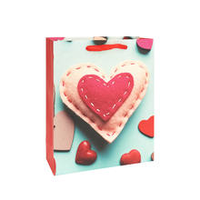 Wholesale Valentines Heart Flocking Wedding Party Boutique Shopping Packaging Gift Paper Bag