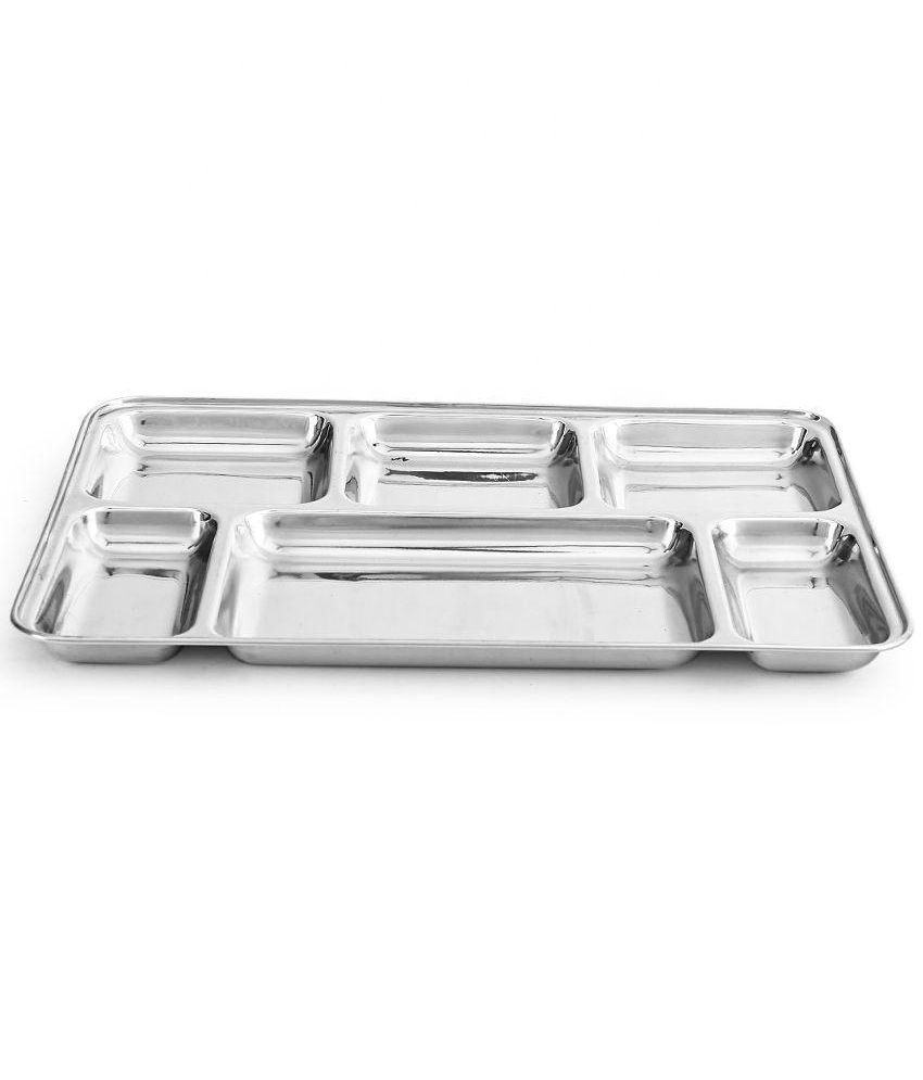 Tableware Divided Metal Food Lunch Mess Tray Stainless Steel 6 Meal Compartments Dinner