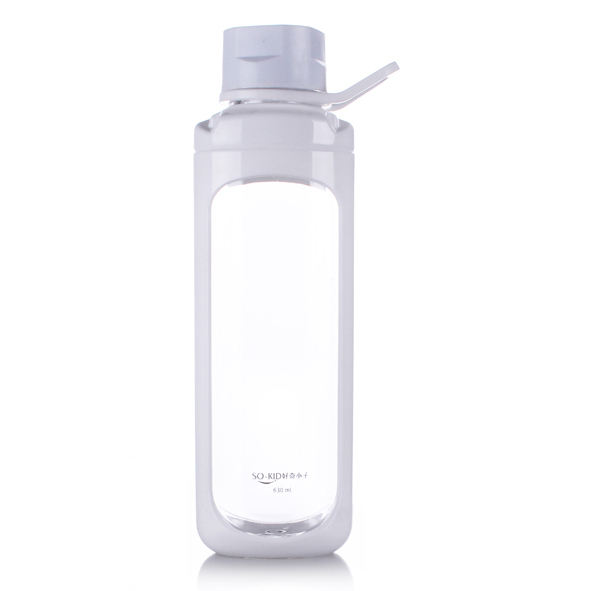 colorful plastic transparent sporty water bottle with handle