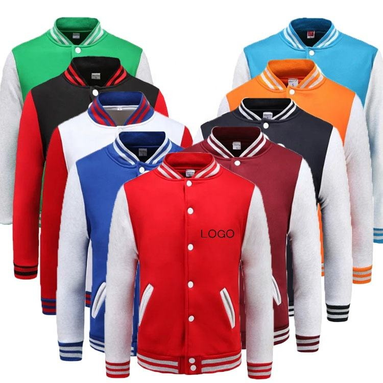 Spring Autumn Custom Printed Fleece letterman College baseball Varsity men's jackets coats