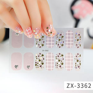 Free Sample 2020 Beauty Stickers 3D Nail Stickers Set Full Cover Gel Nail Strip F with Diamond