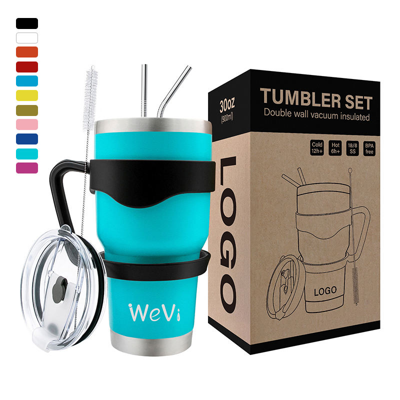 WeVi 20 oz 30oz Double walled stainless steel tumbler cups vacuum insulated travel tumbler with straw wholesale tumbler cups
