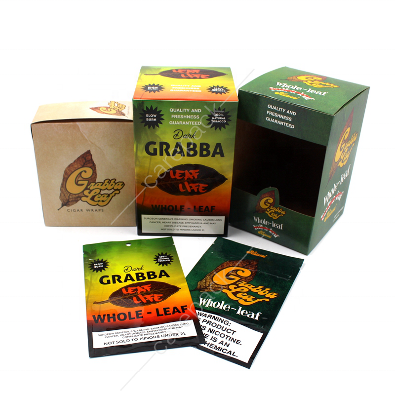 2020 New Design Grabba Leaf Cigar Wrap Packaging Paper Box Tobacco Blunt leaves Package Display Set Custom OEM Your Own Logo