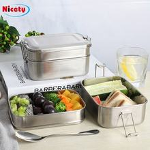 Nicety food grade container 2 layers stainless steel lunch box bento food picnic container