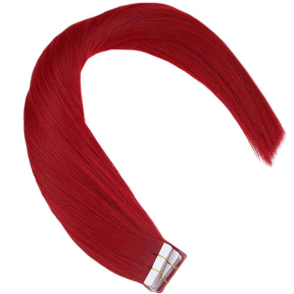 16-24inch 100% Real Human Hair Red Remy Quality European Irgin Brazilian Tape in Hair Extensions Virgin Hair