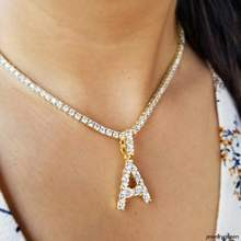 Hip hop jewelry diamond initial bubble letter iced out mini gold initial necklace pendant