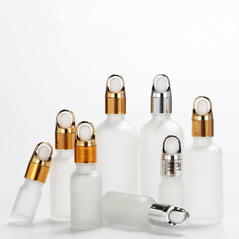 Frosted cosmetic bottle 5ml 10ml 15ml 20ml 30ml 50ml 100ml essential oil face serum glass dropper bottle with gold silver cap