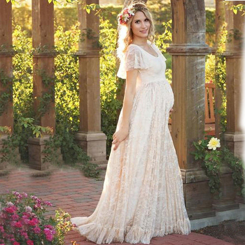 China Manufacturers Short Sleeves Charming Bridal Patterns Maternity Wedding Dress for Pregnant Bride
