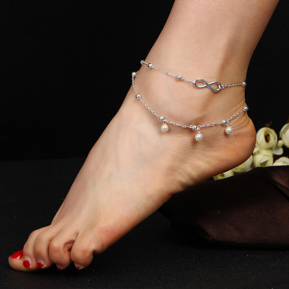 Handmade Artificial Pearl 8 Word Pearl Double Anklet Bracelet Jewelry 1815