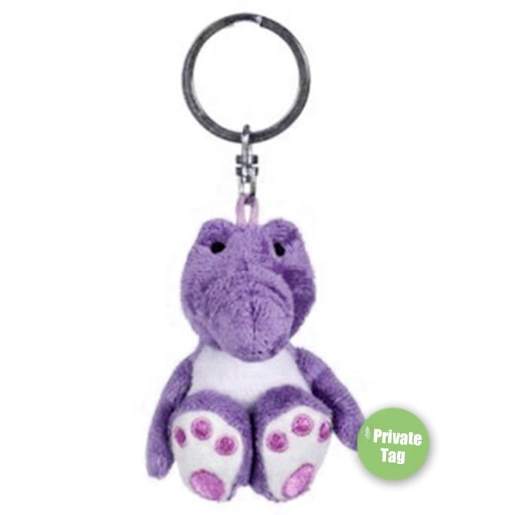 Custom Embroidery paws colorful purple cute animal alligator keyring stuffed toys plush dinosaurs keychain