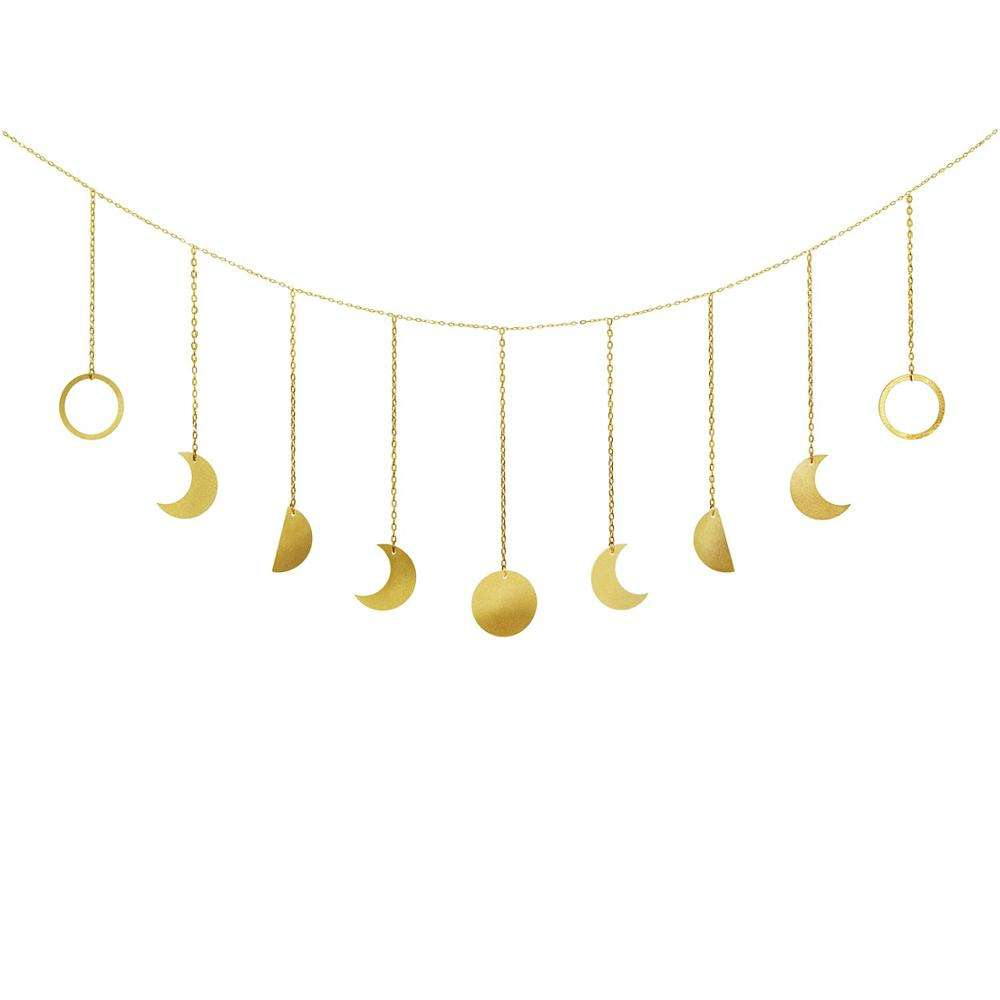 Moon Decor Wall Decorations Long Garland and Gold Metal for living room Apartment