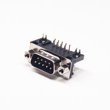 DB9 Male D-sub 9 Pin Right Angled PCB Mount Connector Through Hole