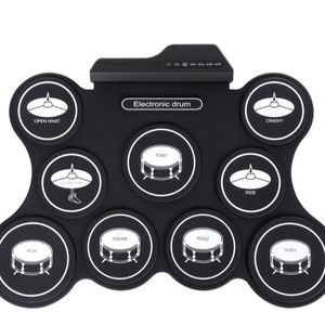 9 Keys Foldable Roll Up Portable Practice Electric Drums Pads
