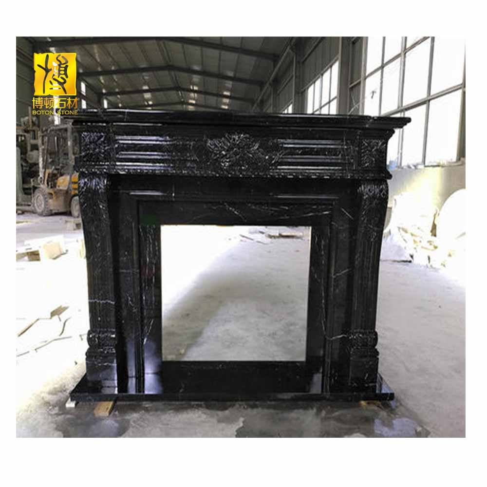 Natural Black Marble Fireplace Surround Frame , Black Stone Fireplace Mantel