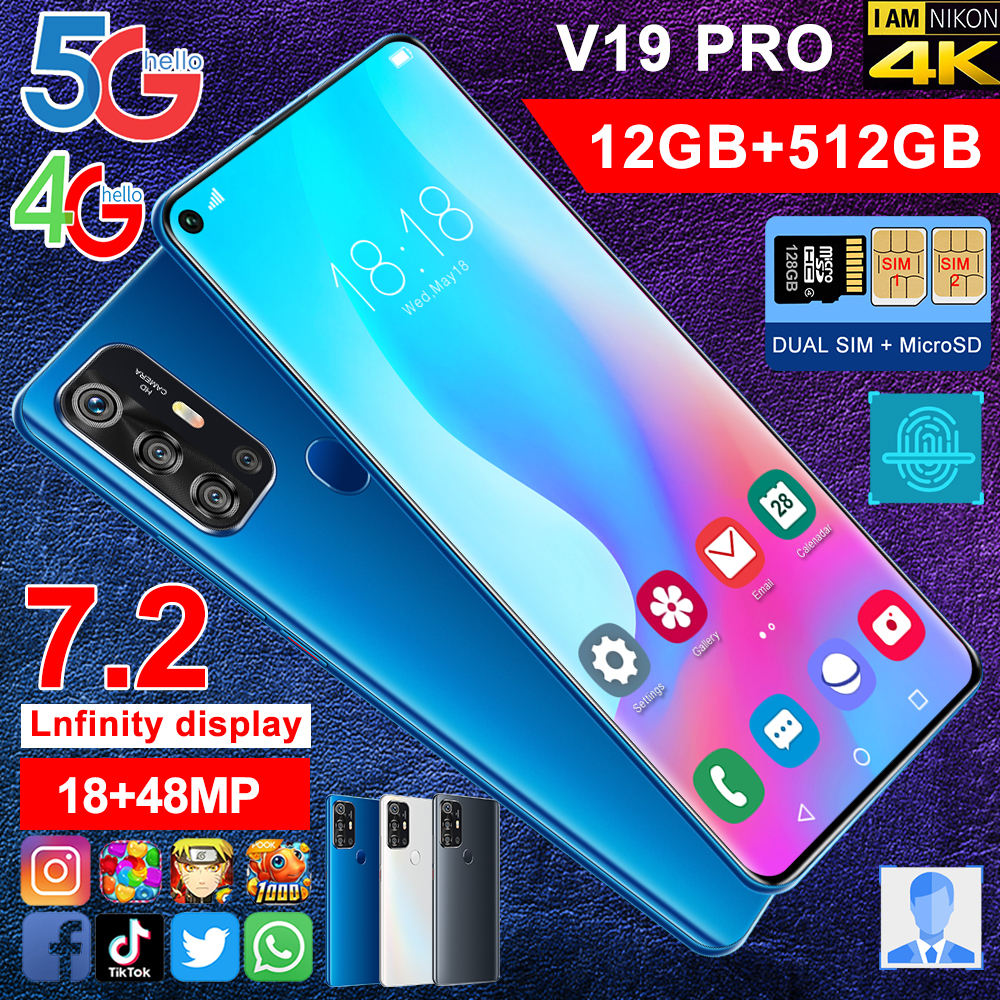mid industry design ROM 5G LTE 7.2-inch smart thoughtful display smartphone front 18mp Rear 48MP LED mobile phone 12GB 512GB
