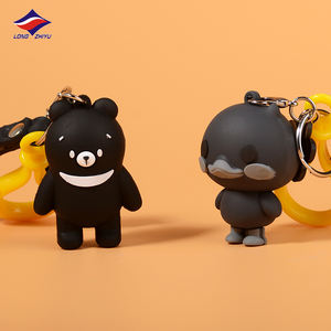 Longzhiyu Custom 3D PVC Keychain 14 Years Manufacturer Cute Cartoon Bear Silicone Keyring Bag Pendant Keyring Wholesale