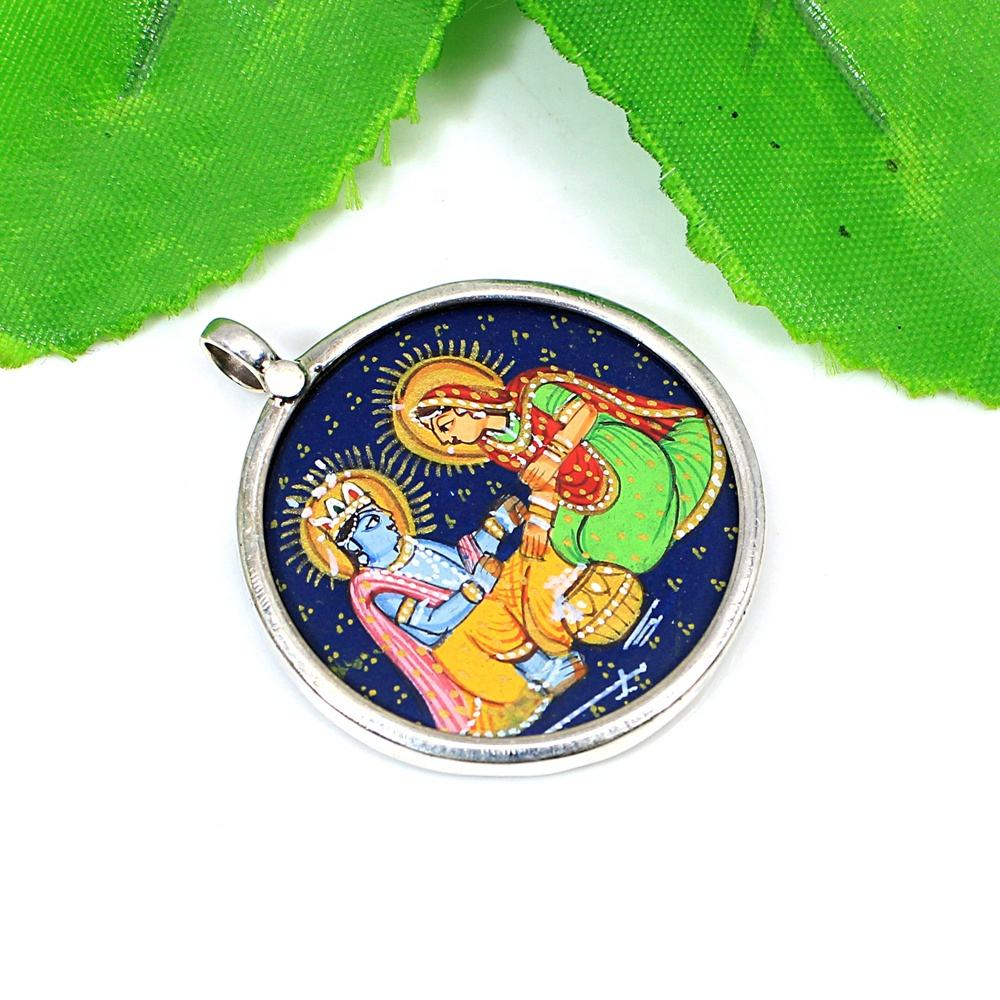 Hindu Goddess Lord Radha Krishna Handcrafted Painting Miniature Art 925 Sterling Silver Tribal Jewelry Pendant