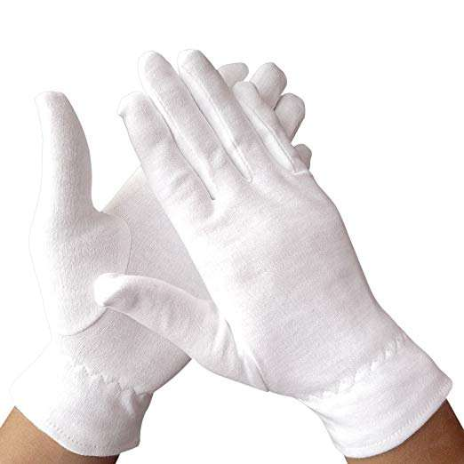100% Premium Cotton Cosmetic Moisturizing Natural Therapy Dry Eczema Skin Spa gloves