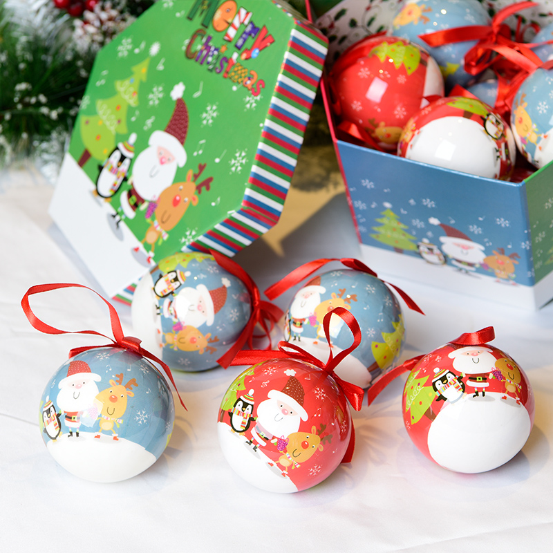 Gangheng Navidad ornaments decorating christmas gifts box packing shatterproof sticker christmas plastic ball set