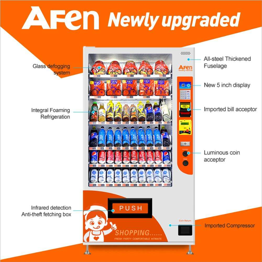 AFEN best service equipment mini cash acceptor combo/snack/drink vending machine remote control
