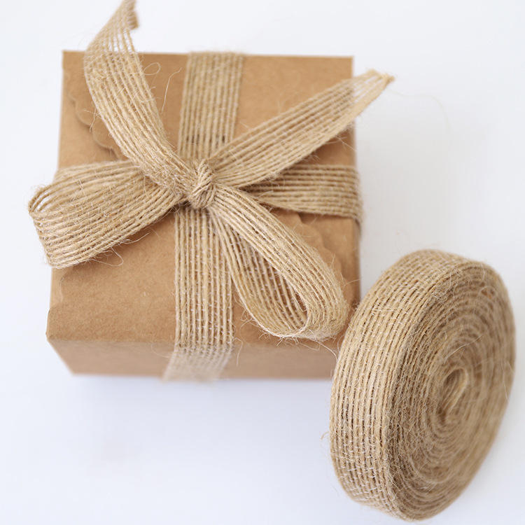 Natural Jute Burlap Hessian Ribbon Rolls Christmas Gift Wrapping Festival Party Decor
