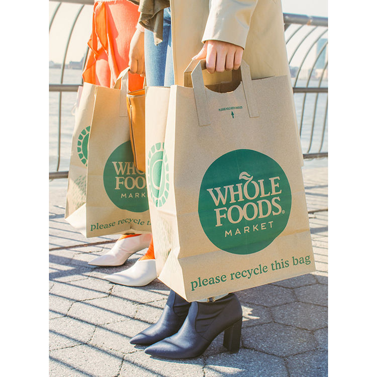 Custom printed logo eco friendly shoppers organic 100% biodegradable kraft paper shopping bag