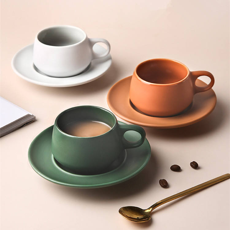 advanced design cheap bulk home goods nordic matte drinking tea cup and saucer set latte coffee ceramic cup