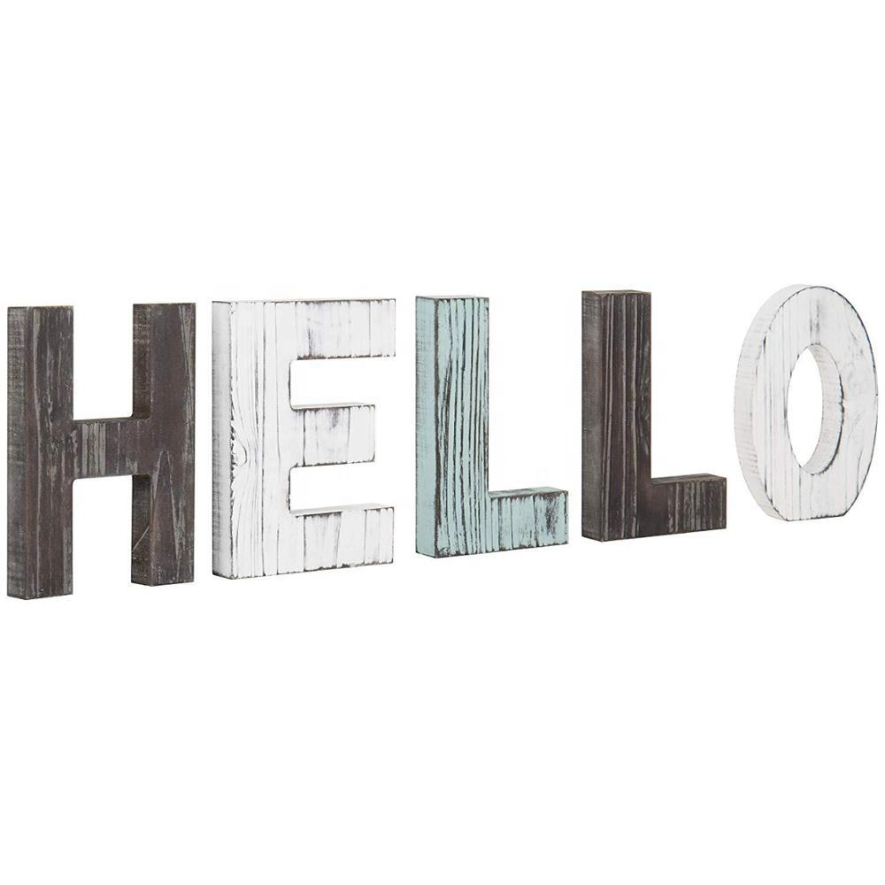 HELLO Decorative Wooden Letters Large Wood Letters for Wall Rustic Home Decoration for Living Room Accents Farmhouse