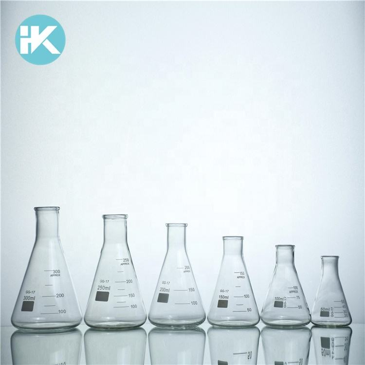 Huke customized Narrow mouth 5~10000ml conical flat-bottomed laboratory erlenmeyer flask