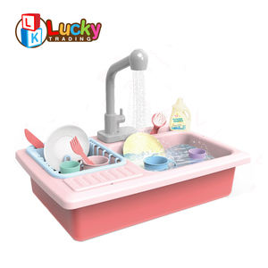 kids kitchen play set dishwasher toys pretend play sink with automatic running water