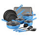 Long-lasting nonstick 14-Piece Aluminum Cookware Set, Marine Blue