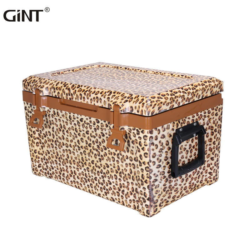 GiNT 50L Wholesale Factory Direct PP Plastic EPS Foam Leopard Fashion Design Ice Chest Cooler Box for Outdoor Camping
